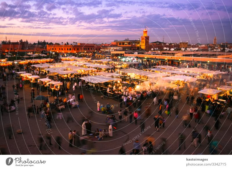 Jamaa el Fna, Marrakesh, Morocco. Vacation & Travel Tourism Trip Adventure Restaurant Culture Landscape Town Places Tradition Jemaa el Fna square landmark