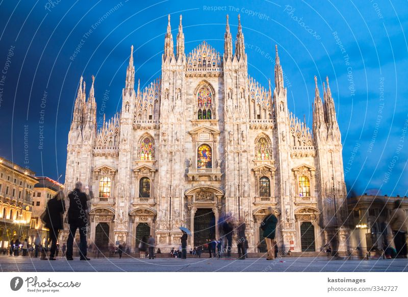 Milan Cathedral from the Square Tourism Decoration Art Church Places Building Architecture Facade Monument Old Large Blue White Religion and faith Perspective
