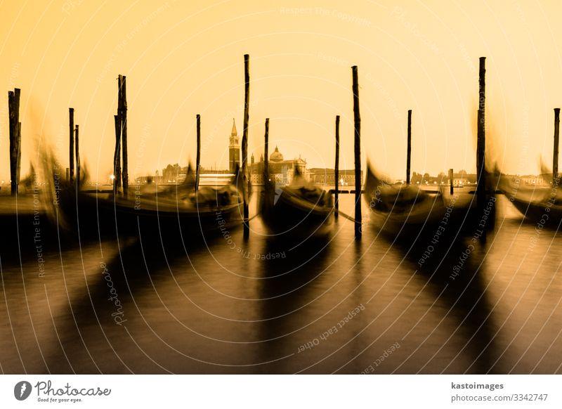 Gondolas in Venice, Italy, EU. Beautiful Vacation & Travel Tourism Summer Sun Ocean Island Art Landscape Fog Church Building Architecture Transport Watercraft