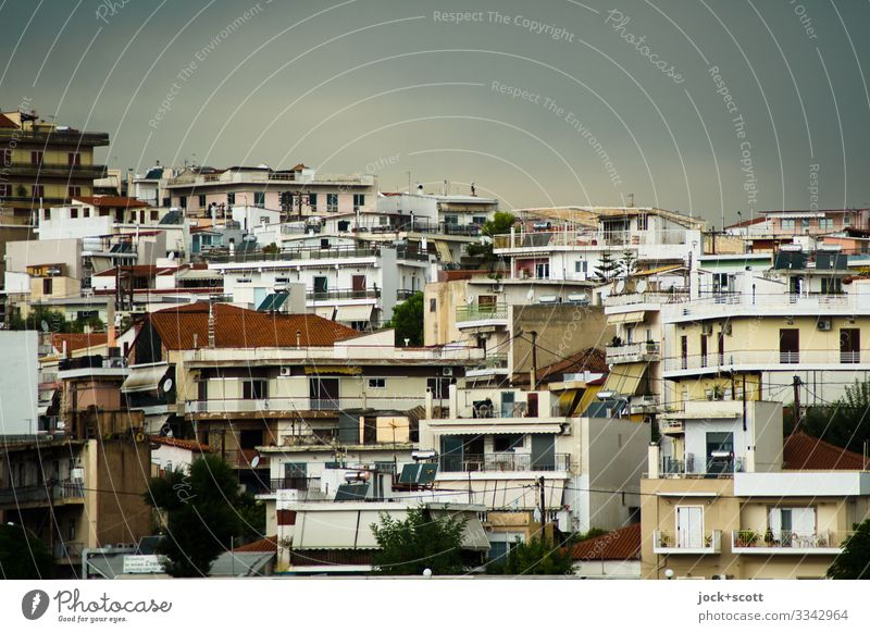 Hill houses in Chalkida City trip Sky Summer Climate change Bad weather hillock Greece Downtown Facade Authentic Sharp-edged Modern Town Many Warmth Moody