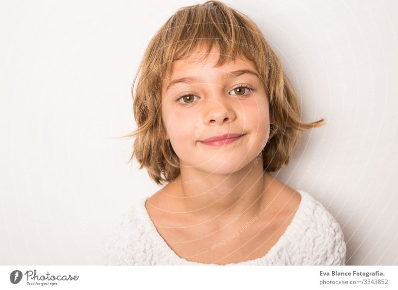 studio portrait smiling kid Portrait photograph Joy Child Cute Happiness Cheerful Beautiful Small Hair Exterior shot Face Girl Infancy Caucasian Smiling