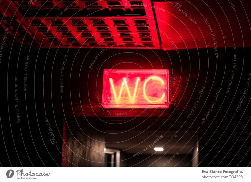 red WC led sign on a wall, indoors wc LED Sign Red Neon Night Club Room Building electronic mail arched Metal Warning sign Signage ban Public restroom German