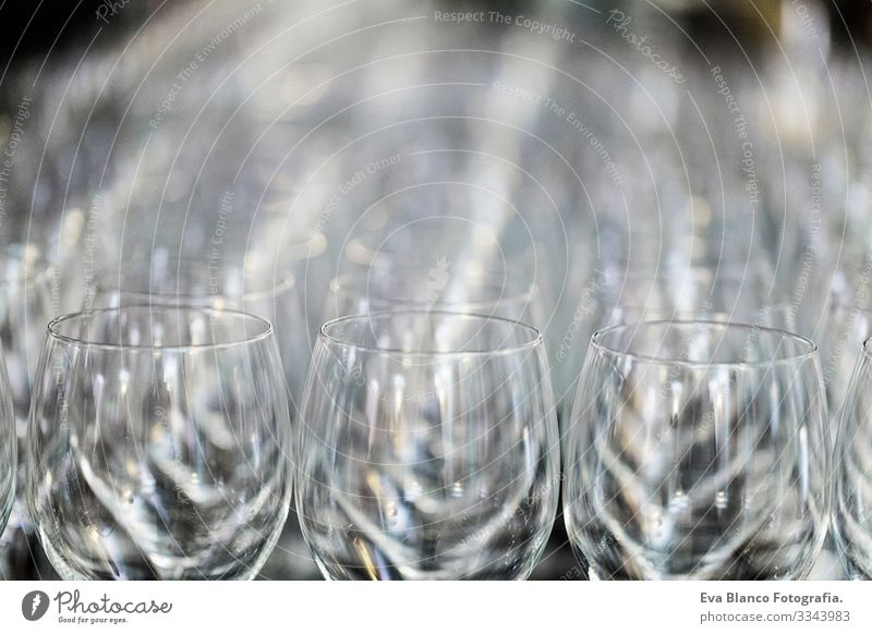 Wine Glass at the exhibition on the table. wedding decor Repeating Restaurant Toast Feasts & Celebrations Alcoholic drinks Empty Drinking Wine glass Row Pattern