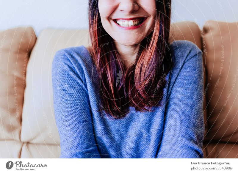 close up portrait of a young woman laughing. Fun at home, indoors Portrait photograph fooling grimacing Smiling Make-up Nice Joy Attractive Fashion Lady