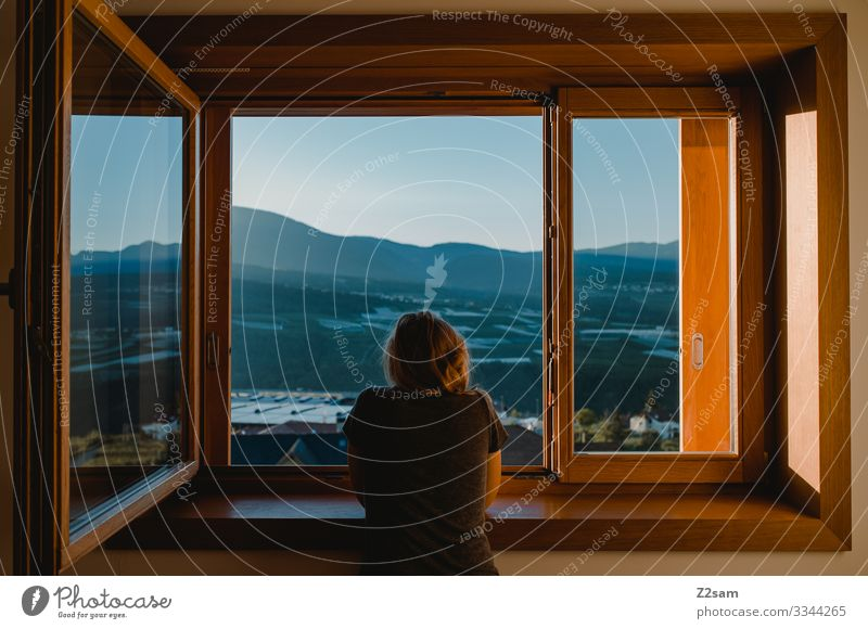 Morning Romanticism in Italy in the morning Breakfast Arise Window Girl Woman Looking panorama Alps mountains Sky Forward Moody Haze Summer Sun Landscape