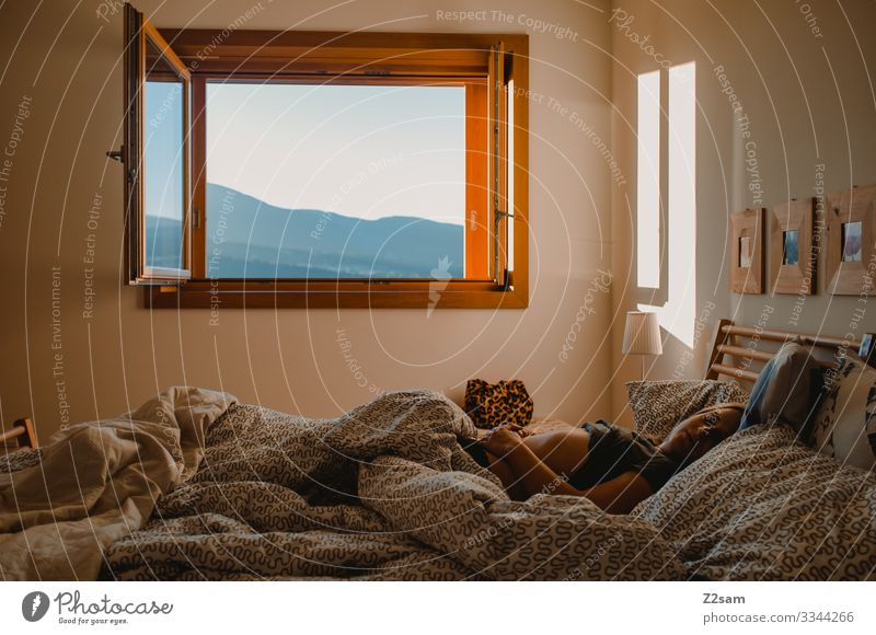 Young woman Morning in bed Sleep Arise Bed Bedroom Fatigue Bedclothes Wake up Duvet Relaxation Colour photo Blanket Dream Oversleep Interior shot Alert Lie