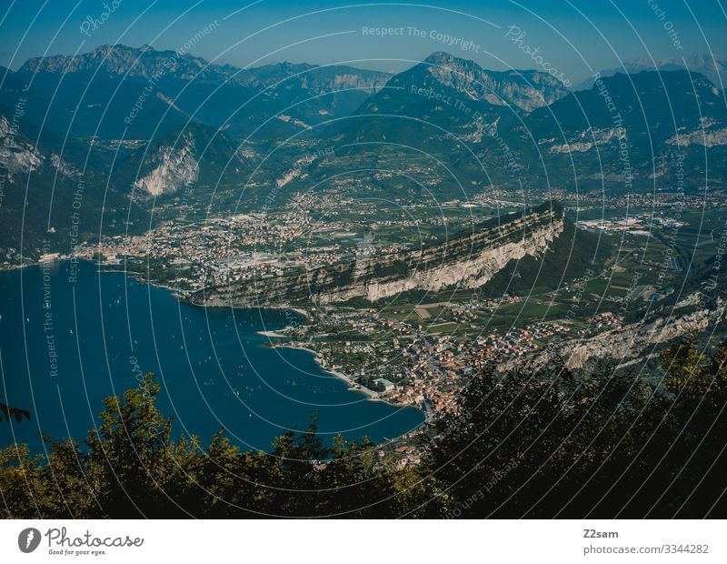 Torbole on Lake Garda from above Riva del Garda mountain lake Alps panorama Mountain Exterior shot Italy Vacation & Travel Nature Sky Water Far-off places