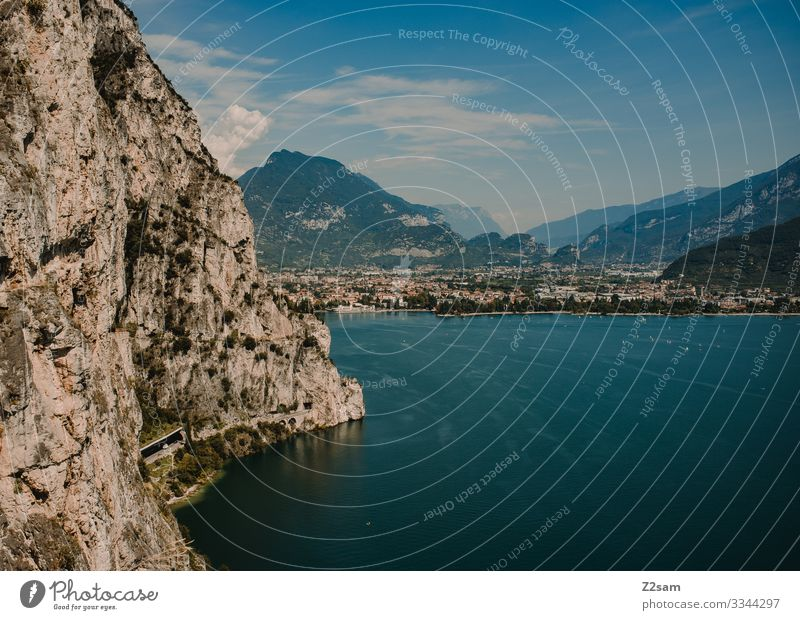 Ponale | Lake Garda 2016 alpine crossing Mountain bike mtb transalp ponal Rock Italy northern italy Water Height mountain lake Summer vacation Warmth outlook