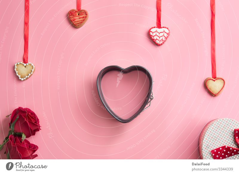 St. Valentine's Day, Mother's Day, Birthday Cake Dough Baked goods Decoration Table Kitchen Rose Heart Love Make Delicious Above Tradition background Baking