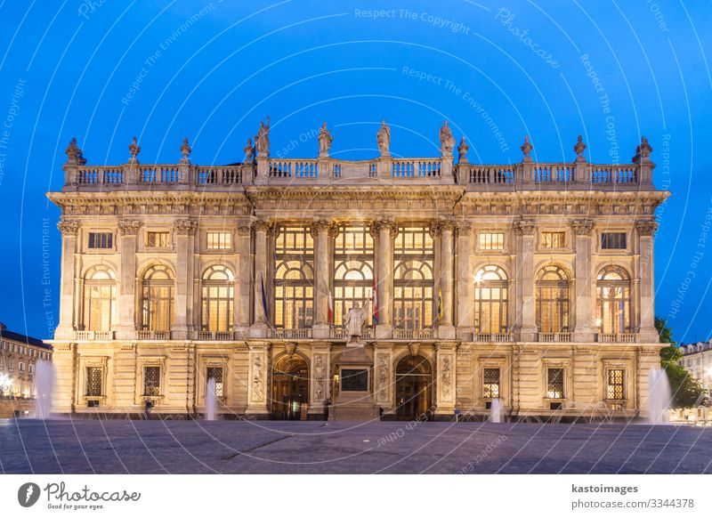 City Museum in Palazzo Madama, Turin, Italy Vacation & Travel Art Town Palace Castle Places Building Architecture Facade Monument Old Historic Retro Blue Yellow