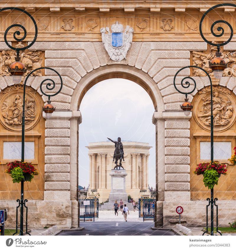 Arc de Triomphe, Montpellier, France. Sky Vacation & Travel Street Architecture Building Tourism Park Europe Culture Historic Flag Castle Monument Statue