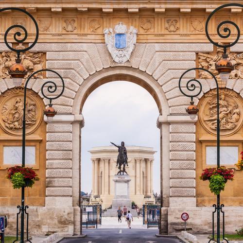 Arc de Triomphe, Montpellier, France. Vacation & Travel Tourism Culture Sky Park Palace Castle Building Architecture Monument Street Flag Historic