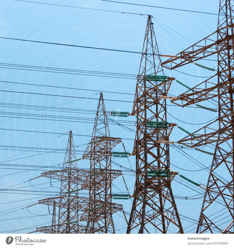 High-voltage power transmission towers. Factory Industry Energy industry Technology Renewable energy Environment Plant Sky Architecture Metal Steel Line Tall