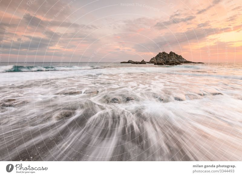 Crete. Beach Ocean Nature Coast Moody Europe Mediterranean Greece Greek Lasithi Sidonia seascape Sunset sea stack Evening Long exposure
