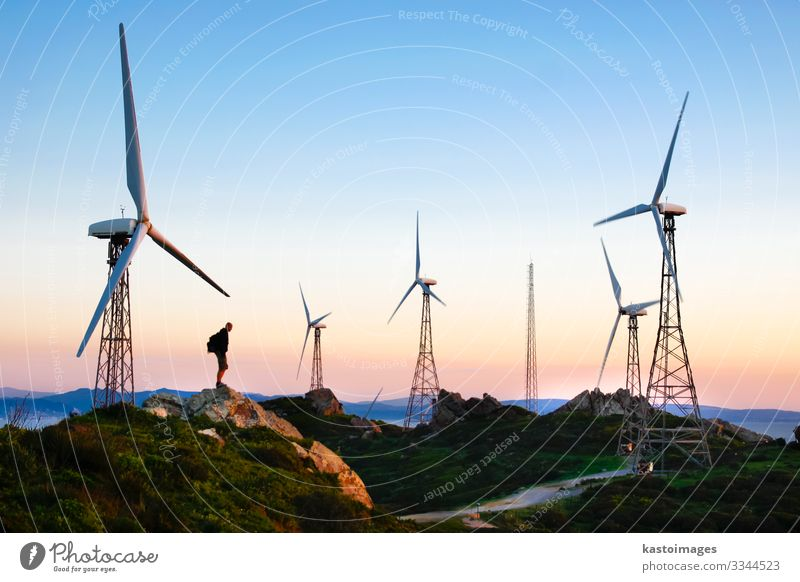 Wind farm in sunset Sun Industry Technology Energy industry Renewable energy Wind energy plant Human being Man Adults Environment Nature Landscape Plant Sky