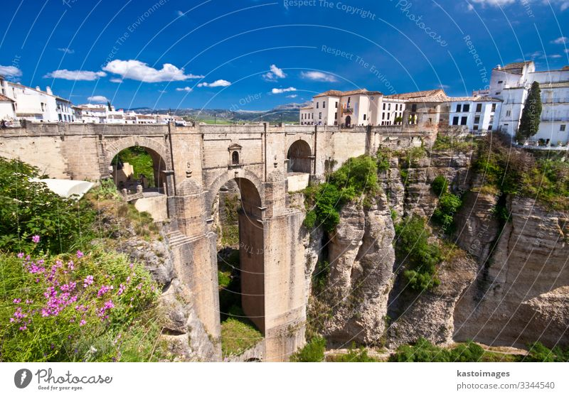 New bridge in Ronda, Andalucia, Spain Vacation & Travel Tourism Summer Mountain House (Residential Structure) Nature Landscape Sky Clouds Horizon Flower Rock