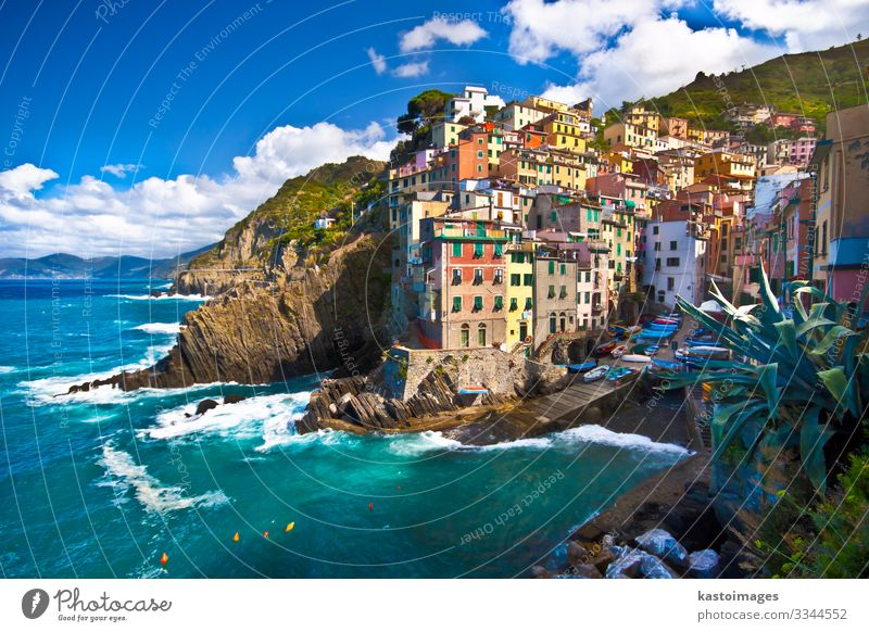 Riomaggiore fisherman village in Cinque Terre, Italy Beautiful Vacation & Travel Tourism Summer Sun Beach Ocean House (Residential Structure) Nature Landscape