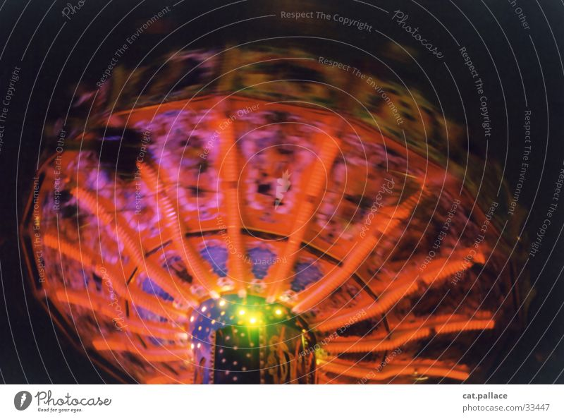 Ferris wheel Multicoloured Speed Blur Night life Leisure and hobbies Dome Carousel carousel. night Colour Music