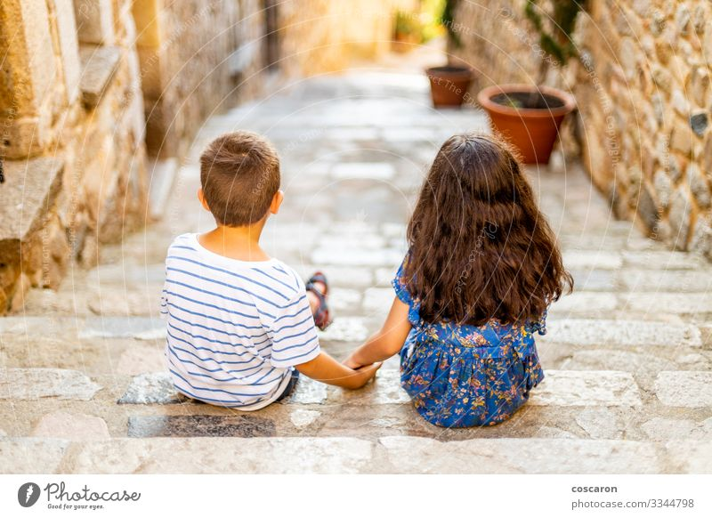 Two little kids holding her hands on a summer day Lifestyle Joy Happy Beautiful Relaxation Leisure and hobbies Vacation & Travel Summer Summer vacation Child