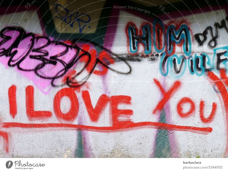 Written | Expression of Love Painter Youth culture Wall (barrier) Wall (building) Facade Sign Characters Graffiti Write Town Red Moody Infatuation Colour