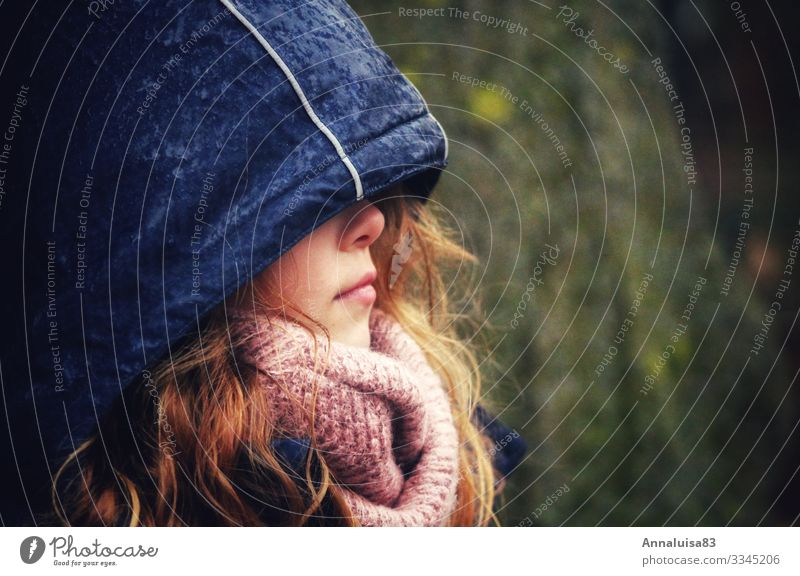 In the rain Adventure Winter vacation Child Schoolchild Student Girl Young woman Youth (Young adults) Woman Adults Sister Nose Mouth 1 Human being 8 - 13 years