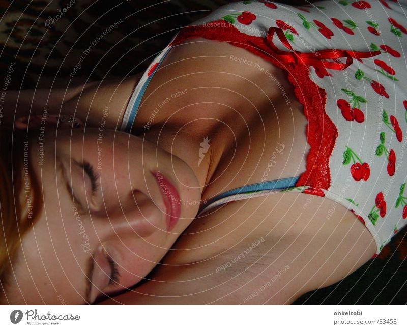 sleeping girl Posture Woman sleep. portrait