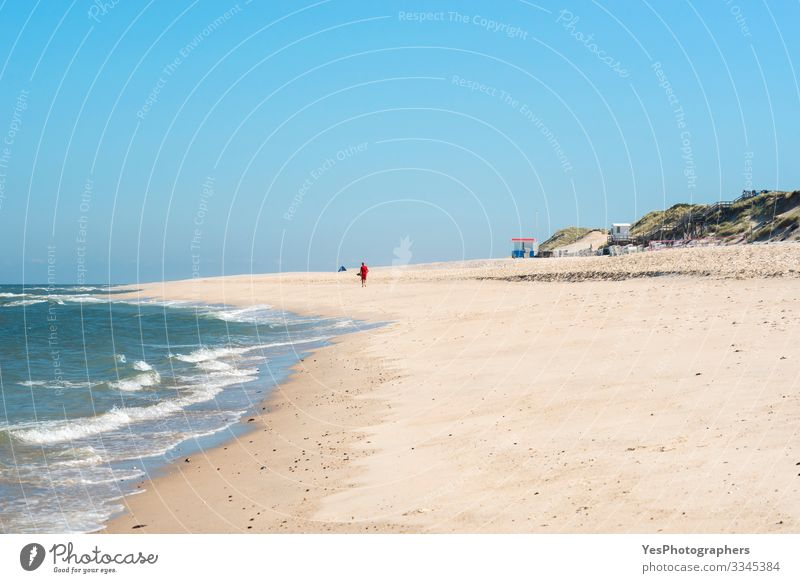 Beach landscape and the North Sea water on Sylt island Relaxation Summer Summer vacation Ocean Waves Sand Beautiful weather Coast Maritime Frisia island