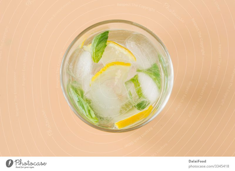 basil lemonade refresh drink for summer Fruit Beverage Lemonade Juice Alcoholic drinks Summer Table Leaf Wood Cool (slang) Fresh Green background Basil