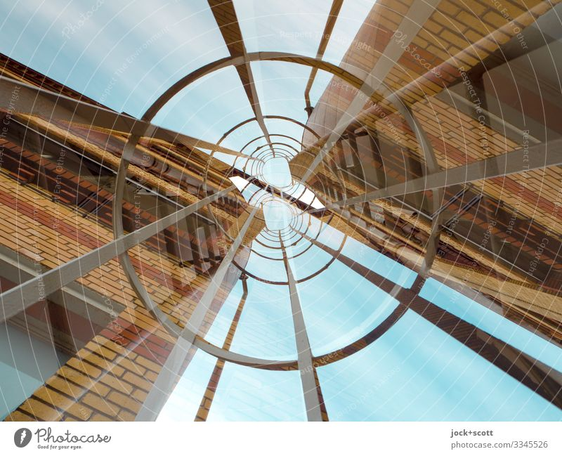 Escape in a double sense Architecture Sky Commercial building Facade Escape route Tall Long Above Retro Agreed Inspiration Center point Surrealism Irritation