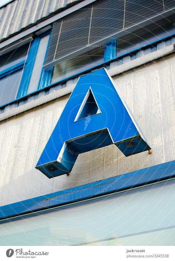 Letter A Climate Kreuzberg Office building Facade Window Venetian blinds Concrete Metal Plastic Characters hang Sharp-edged great Retro Blue Moody Force