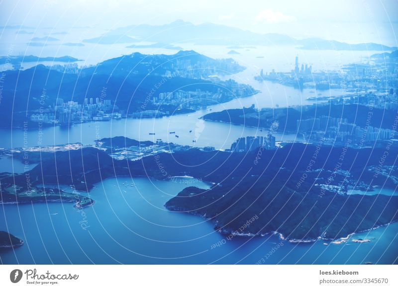 Blue Hong Kong Vacation & Travel Tourism Far-off places Sightseeing Business Aviation Hill Ocean Downtown Skyline High-rise Architecture Tourist Attraction