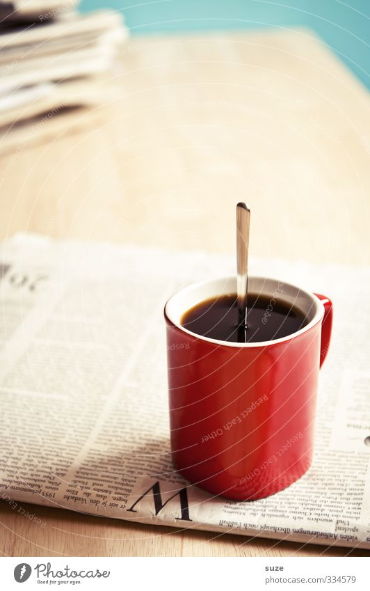 Red Black Funny Business Stand To enjoy Table Creativity Idea Coffee Strong Information Newspaper Whimsical Cup Economy