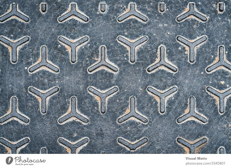 Pattern of a metal manhole cover Industry Metal Steel Old Strong Gray Colour Consistency geometric geometrical geometric pattern metallic texture