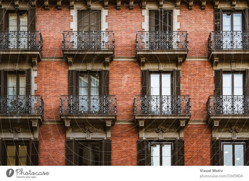 Red brick facade with balconies Design Flat (apartment) Building Architecture Facade Balcony Ornament Modern Colour Symmetry architectonic exterior red bricks