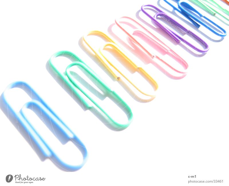 Colour Stationery Row Overexposure Paper clip