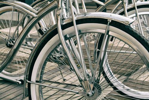 silver shiny bicycles in close-up Luxury Elegant Style Design Bicycle Metal Cool (slang) Athletic Pure Value Colour photo Exterior shot Deserted Reflection