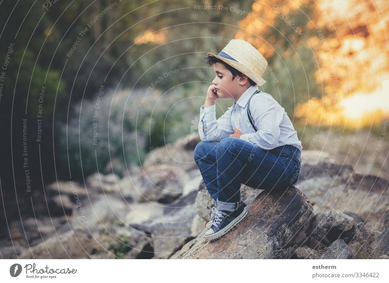 thoughtful child sitting on a rock Lifestyle Meditation Summer Human being Masculine Child Boy (child) Infancy 1 3 - 8 years Environment Nature Forest Think Sit