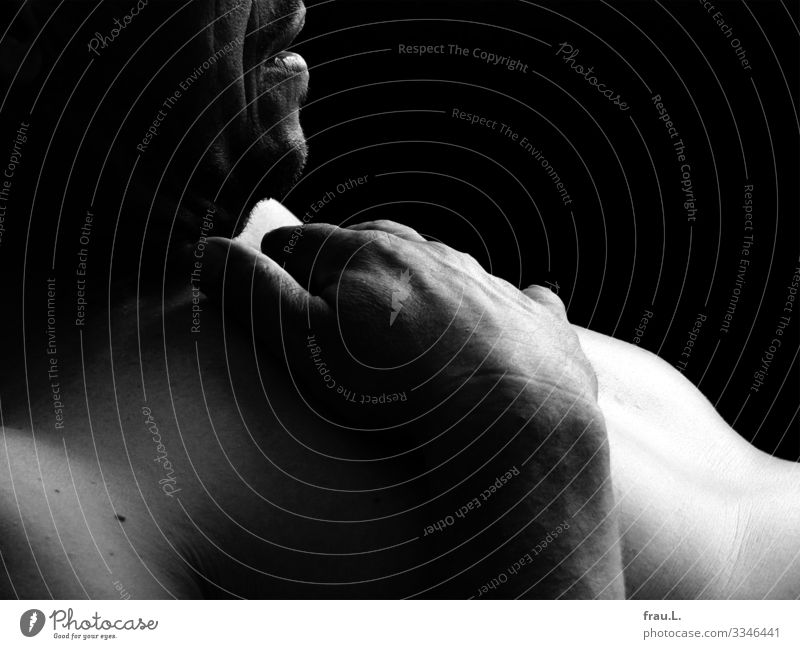 man Masculine Man Adults 1 Human being 45 - 60 years Lie Esthetic pretty Chest Hand Skin Naked Pallid Nude photography Mouth Calm Black & white photo