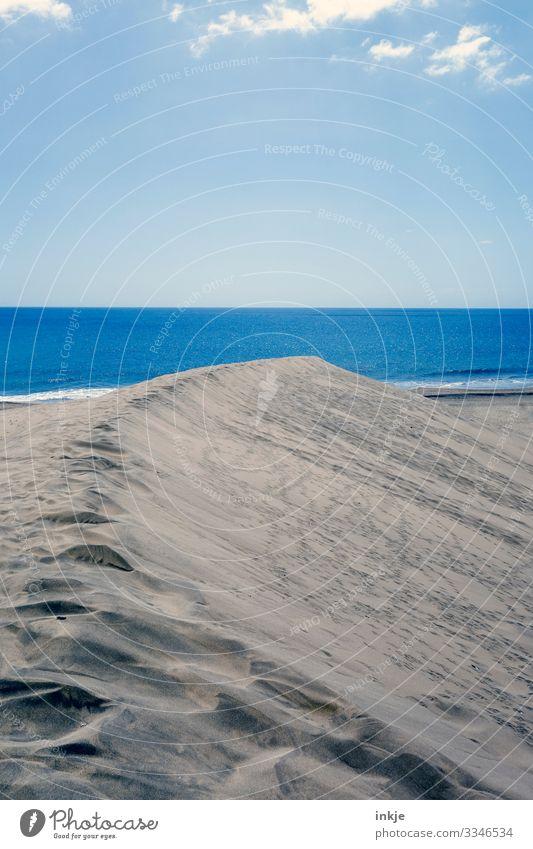 blue sea Colour photo Exterior shot Ocean Dune Beach dune Sand Sky Horizon Copy Space Nature Summer Blue Beige Footprint Deserted Far-off places Calm Smoothness