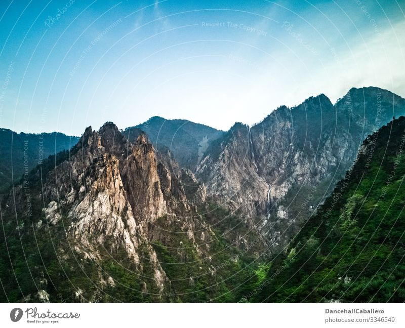 View of mountains in good weather Mountain Nature Landscape Background picture Vantage point Forest Tourism Relaxation Vacation & Travel Deserted Blue sky