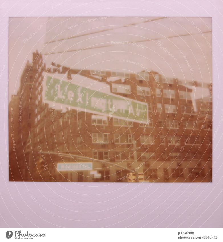 Multiple exposure Polaroid shows buildings and street signs in New York New York City USA Town Capital city Downtown Green House (Residential Structure)