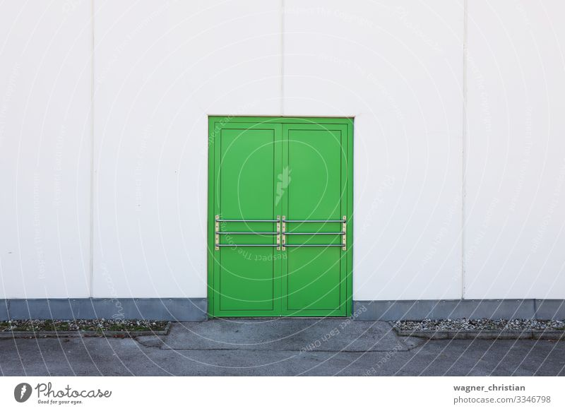 green door Industrial plant Building Wall (barrier) Wall (building) Facade Door Green Minimal Entrance Front door Minimalistic Emergency exit Middle White