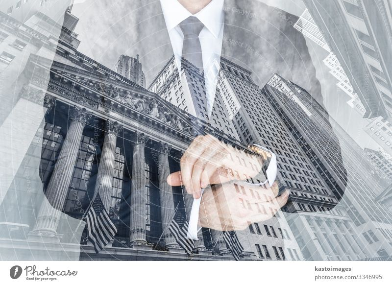 Corporate business, finance and stock market conceptul collage. Elegant Style Money Success Economy Financial Industry Financial institution Business