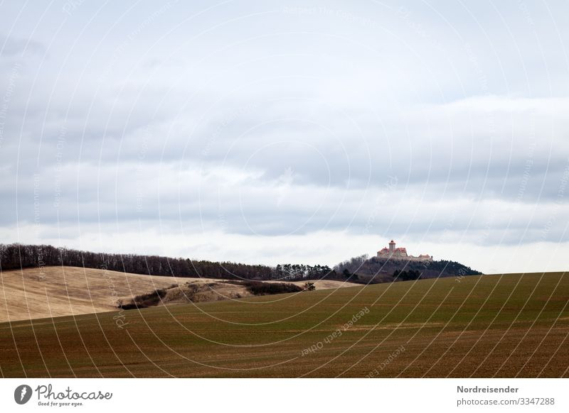 Thuringian state Vacation & Travel Tourism Trip Hiking Nature Landscape Sky Clouds Spring Autumn Weather Meadow Field Hill Castle Manmade structures Building