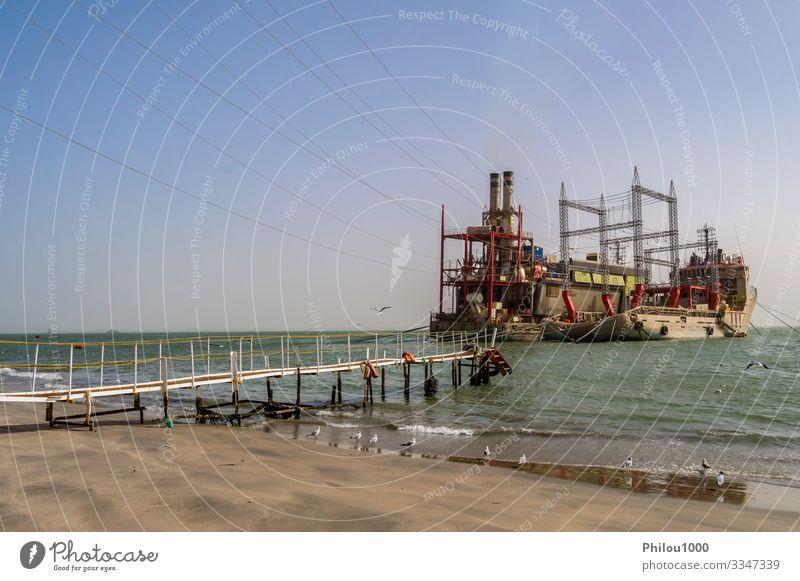 Power plant on moored boats near Banjul Beach Ocean Industry Technology Environment Plant Sky Watercraft Steel Line Blue Energy Environmental pollution banjul