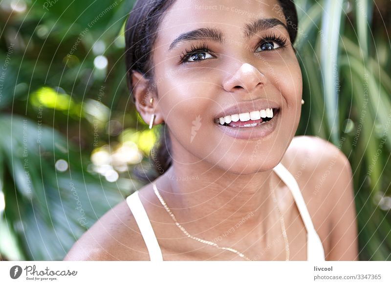 radiant woman, havana - cuba Lifestyle Happy Island Garden Human being Feminine Young woman Youth (Young adults) Woman Adults Head Face Eyes Ear Nose Mouth Lips