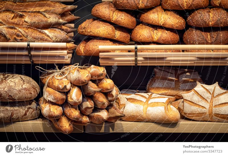 Bread assortment on bakery wooden shelves. Bread shop Food Dough Baked goods Roll Nutrition Shopping Healthy Eating Tradition Baguette Baker bakery interior