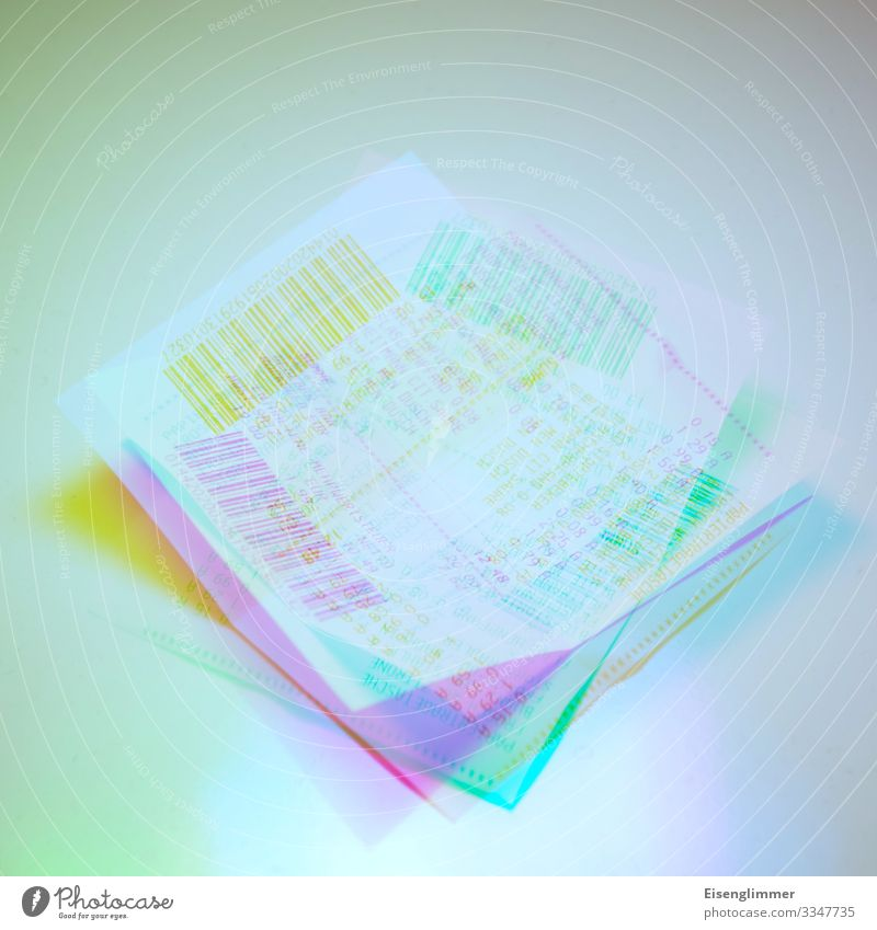 Payment receipts Paper Receipt Crazy Blue Multicoloured Yellow Green Business Arrangement Proof of payment Colour photo Interior shot Experimental Deserted