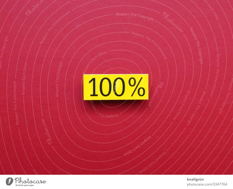 100% hundred percent Digits and numbers Total complete Percent sign Copy Space Sign Signs and labeling Colour photo Red Yellow Black Characters Signage
