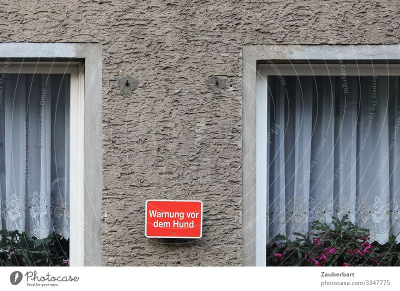 Warning about the dog Pot plant Detached house Window Curtain Window frame Tulle Stone Characters Signage Warning sign Gloomy Gray Red White Fear Dangerous